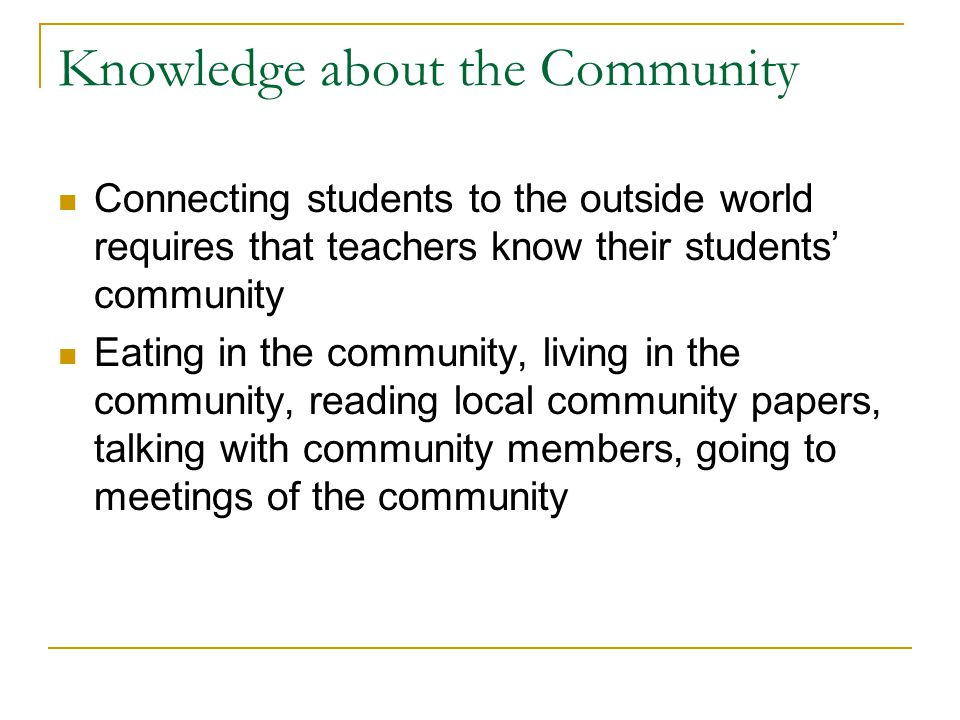 Knowledge about the Community