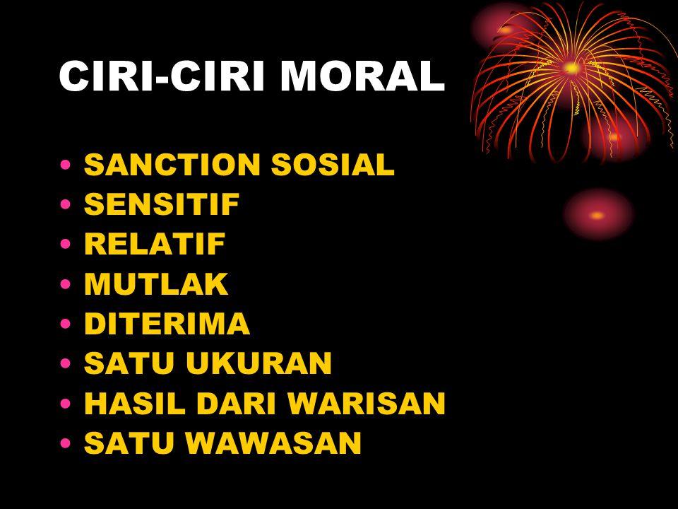 CIRI-CIRI MORAL SANCTION SOSIAL SENSITIF RELATIF MUTLAK DITERIMA