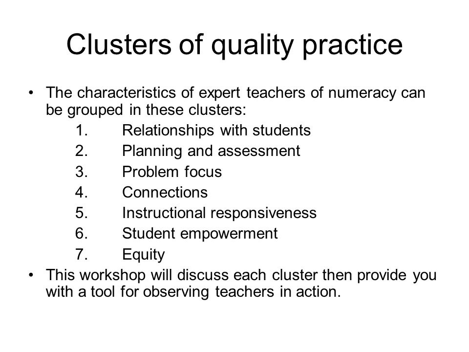 Clusters of quality practice