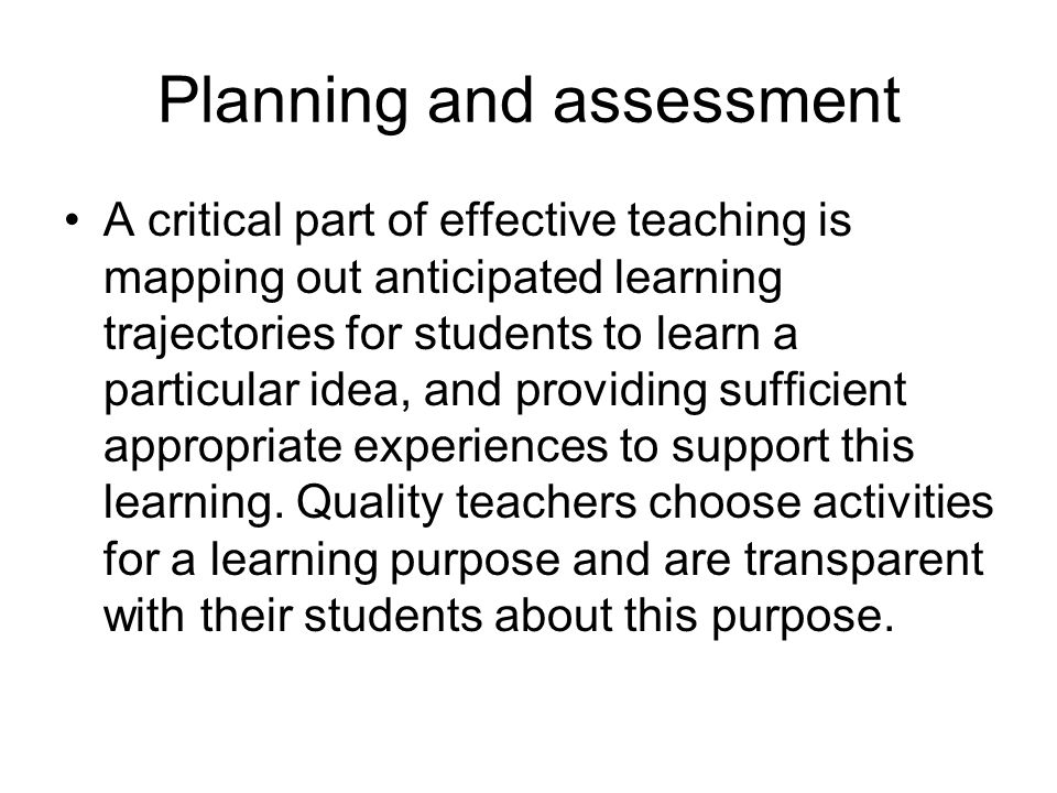 Planning and assessment