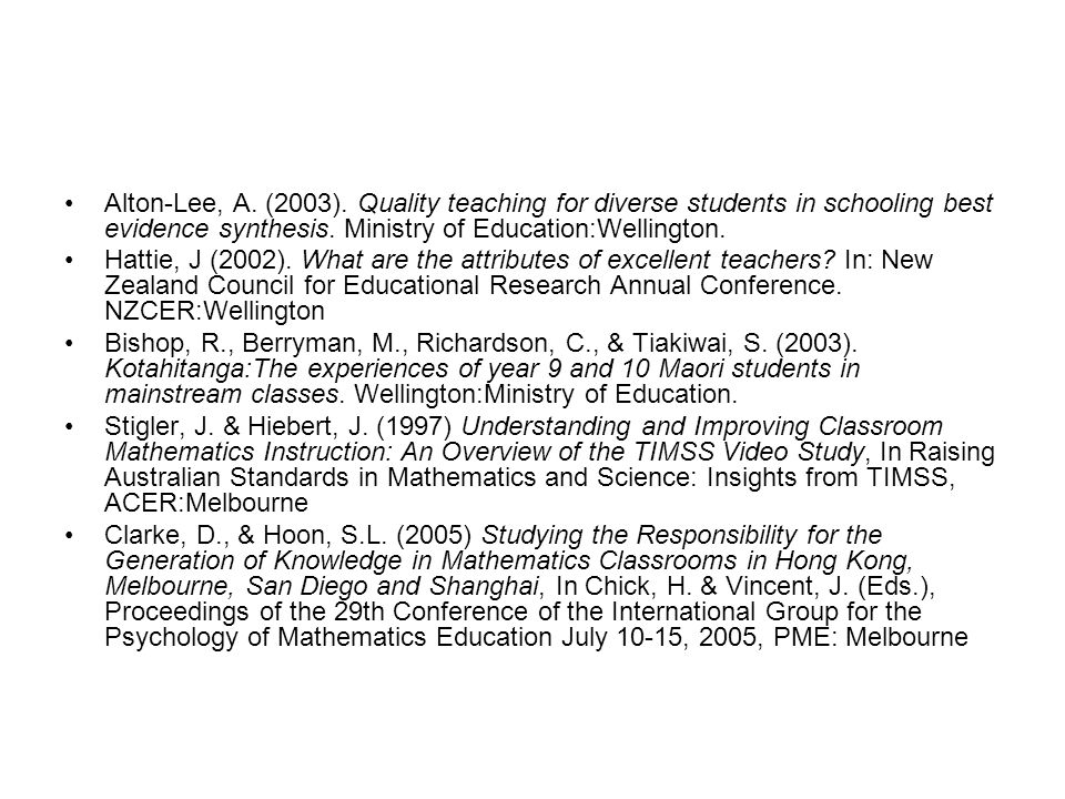 Alton-Lee, A. (2003). Quality teaching for diverse students in schooling best evidence synthesis. Ministry of Education:Wellington.