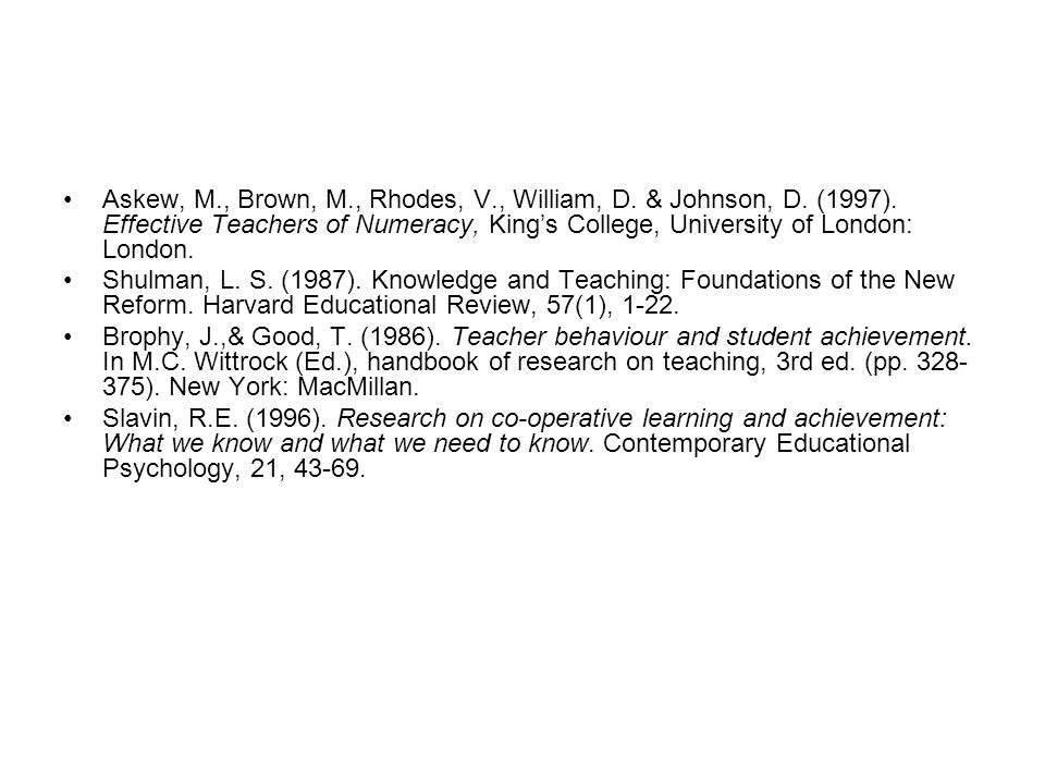 Askew, M. , Brown, M. , Rhodes, V. , William, D. & Johnson, D. (1997)