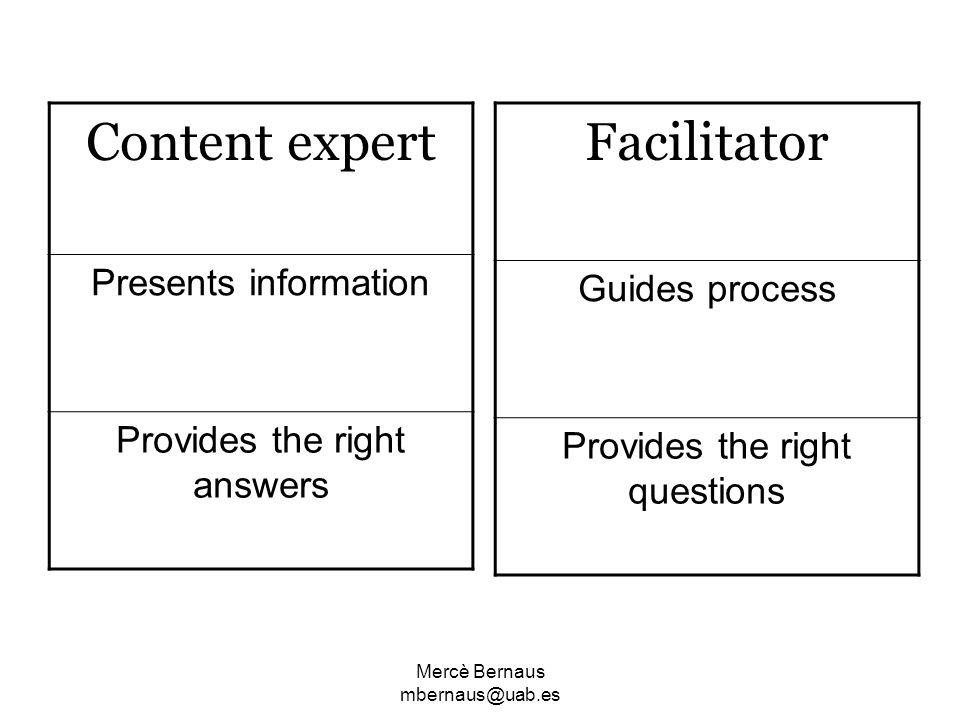 Content expert Facilitator Presents information Guides process