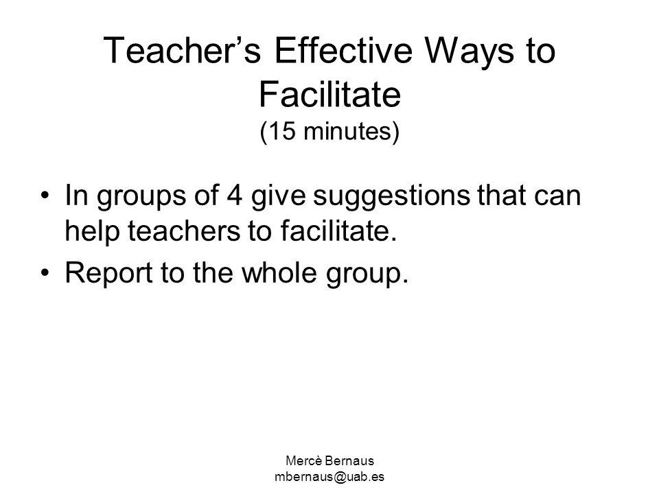 Teacher's Effective Ways to Facilitate (15 minutes)