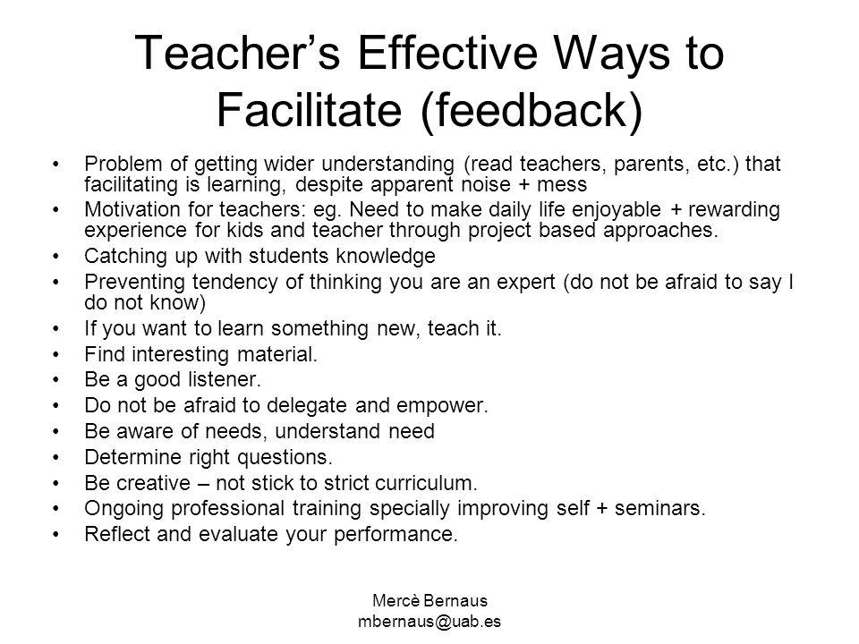 Teacher's Effective Ways to Facilitate (feedback)