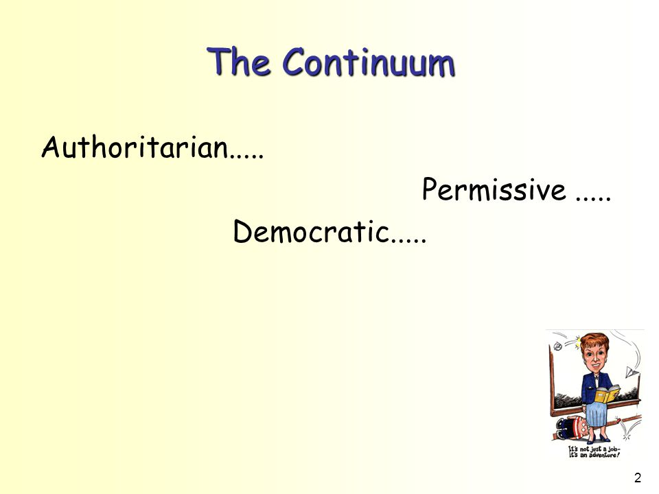 The Continuum Authoritarian..... Permissive ..... Democratic.....