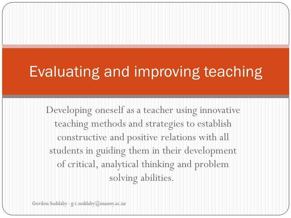 Evaluating and improving teaching