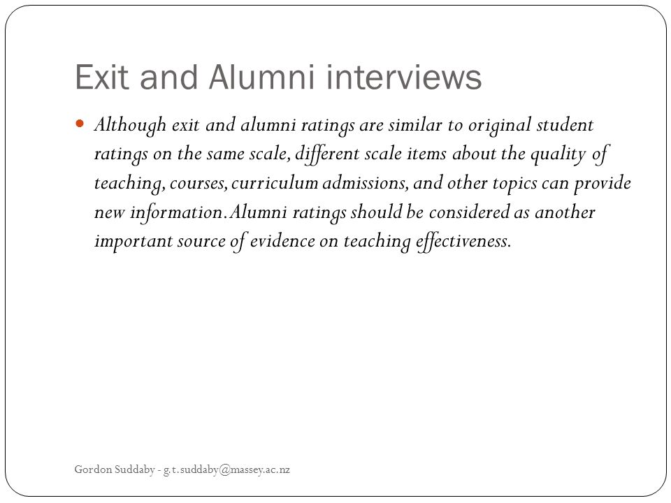 Exit and Alumni interviews