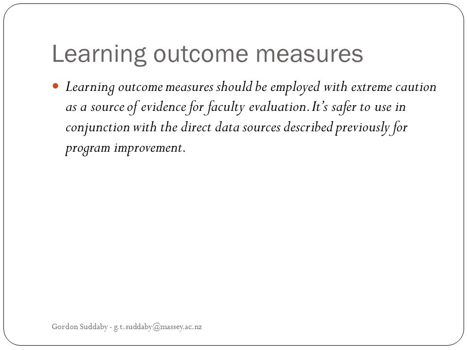 Learning outcome measures