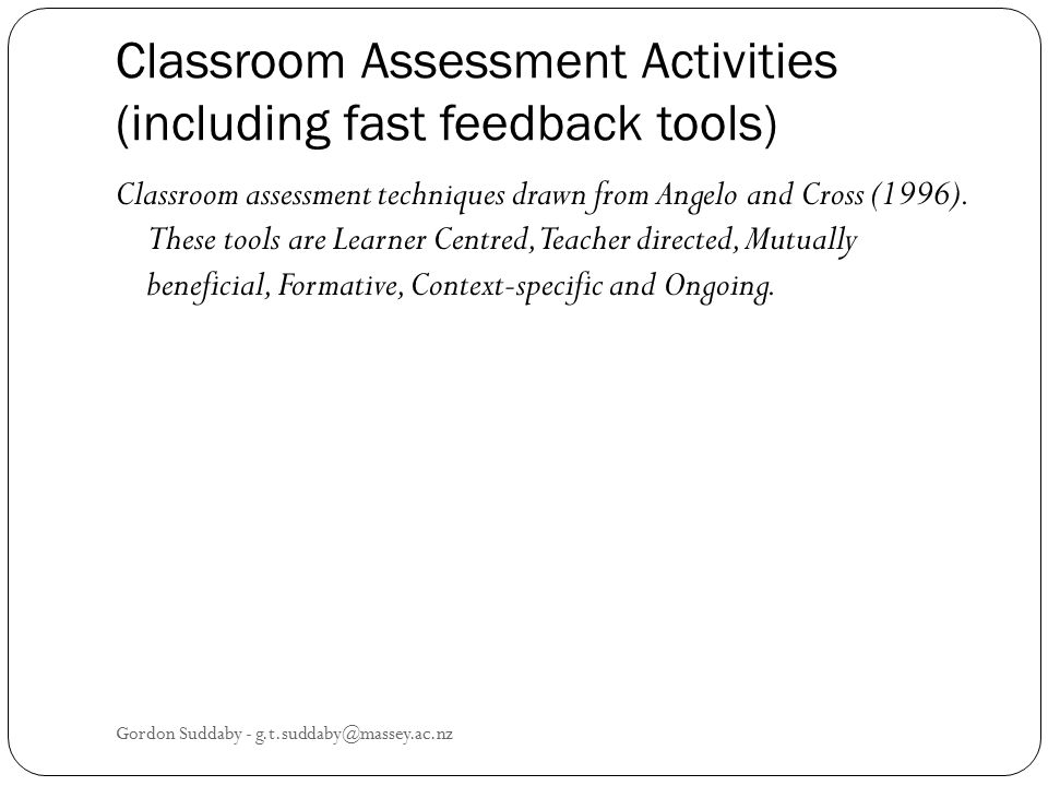 Classroom Assessment Activities (including fast feedback tools)