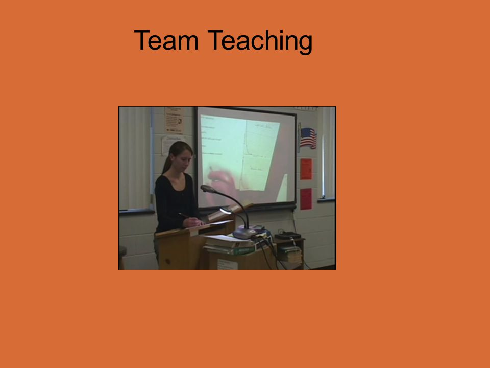 Team Teaching Two teachers serve as one. Both are actively engaged in management and instruction.