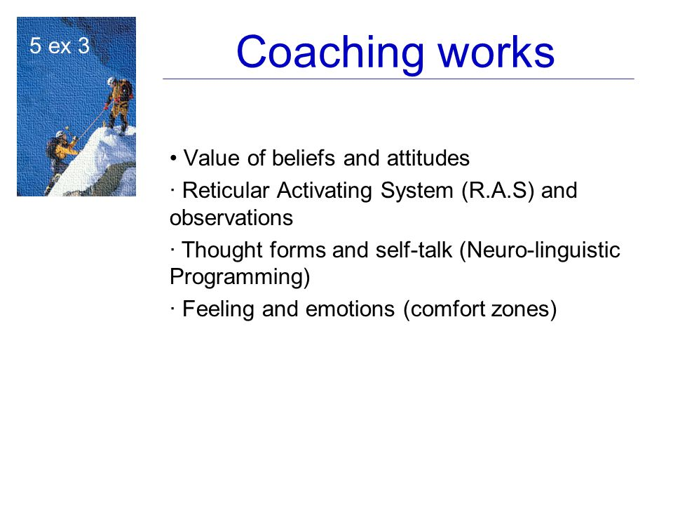 Coaching works 5 ex 3 Value of beliefs and attitudes