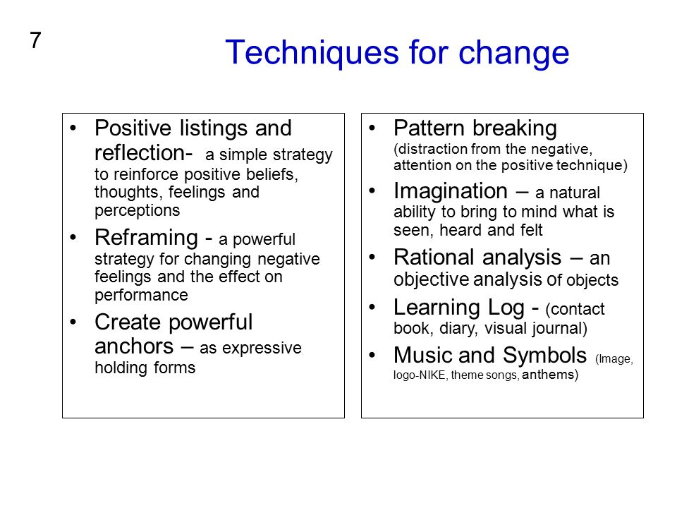 Techniques for change 7. Positive listings and reflection- a simple strategy to reinforce positive beliefs, thoughts, feelings and perceptions.
