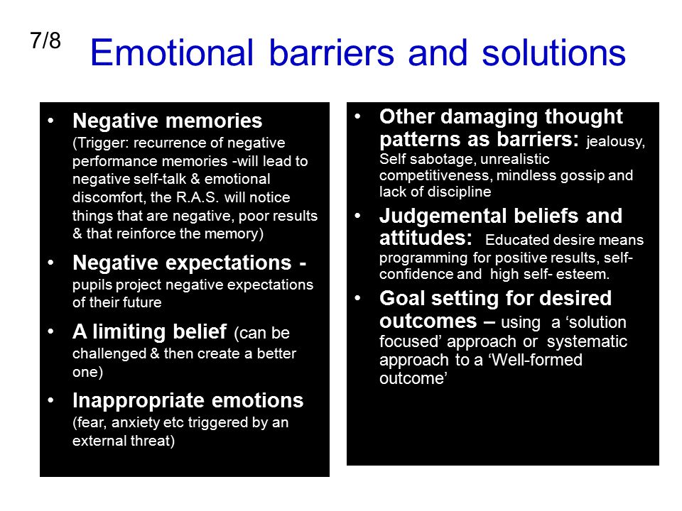 Emotional barriers and solutions