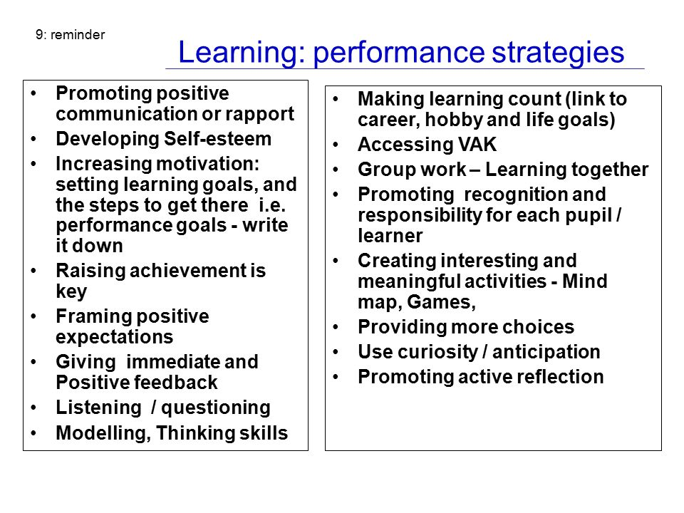 Learning: performance strategies