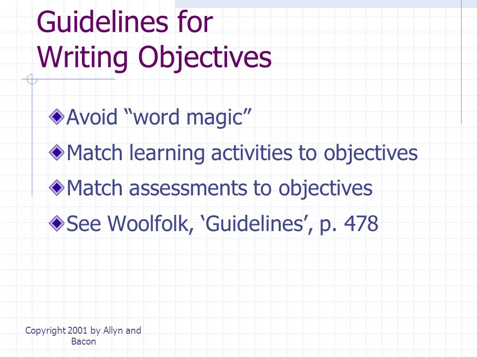 Guidelines for Writing Objectives
