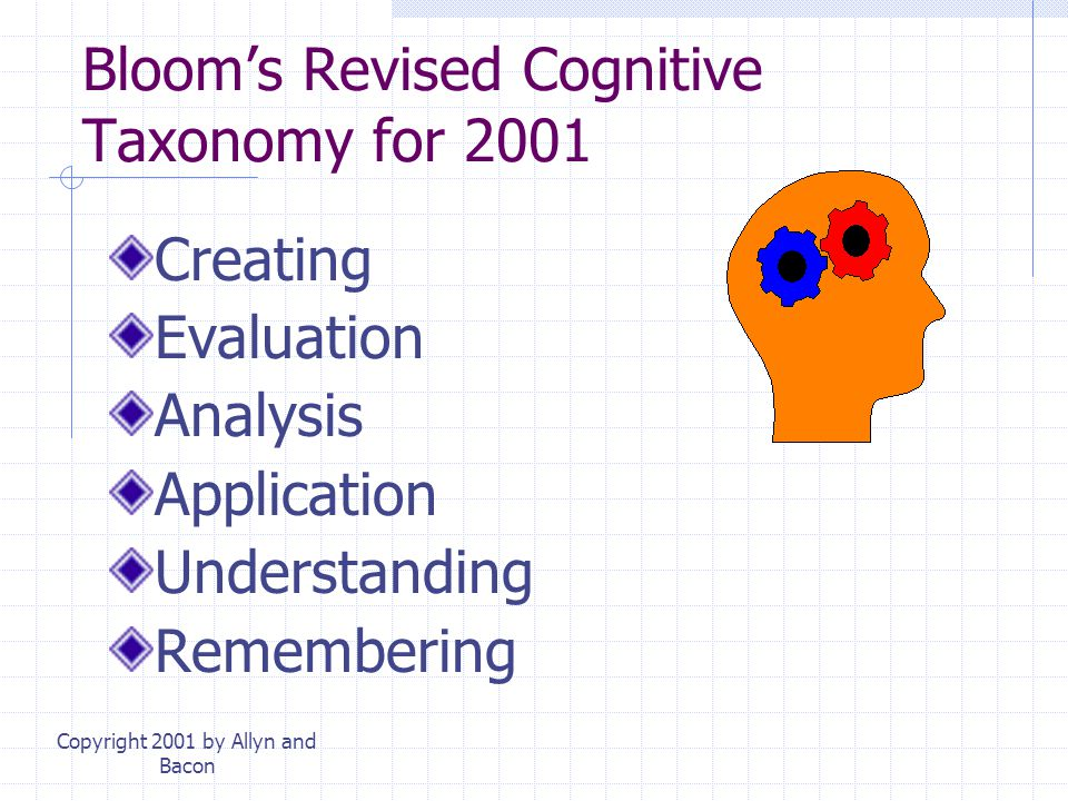Bloom's Revised Cognitive Taxonomy for 2001