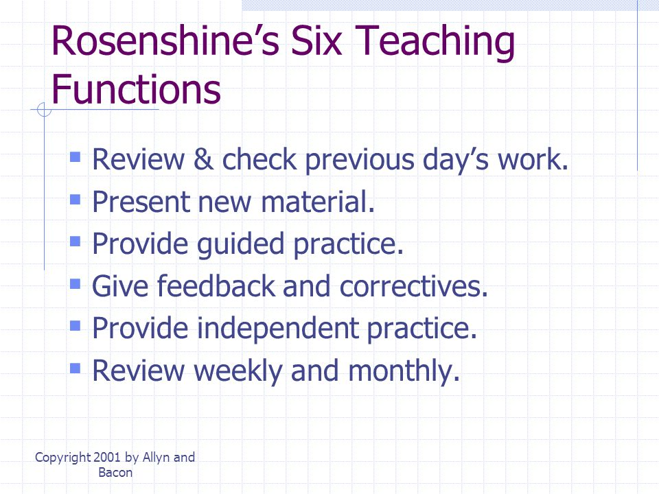 Rosenshine's Six Teaching Functions
