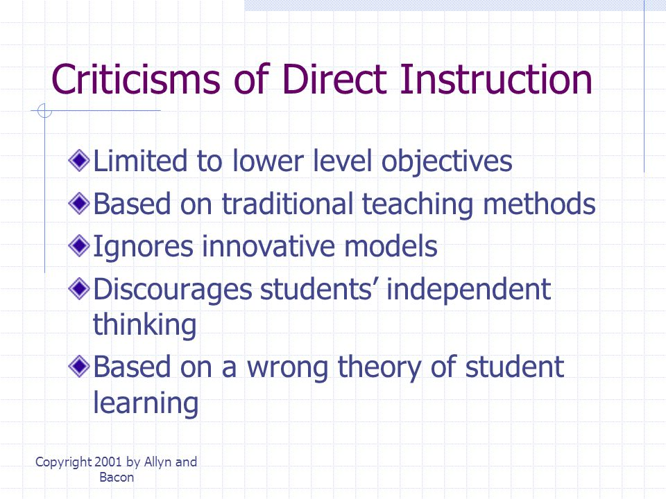 Criticisms of Direct Instruction