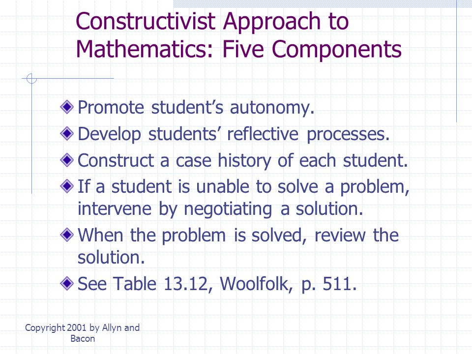 Constructivist Approach to Mathematics: Five Components