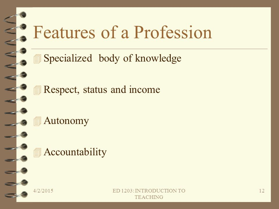 Features of a Profession