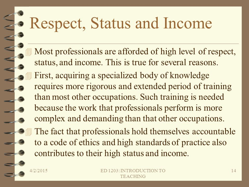 Respect, Status and Income