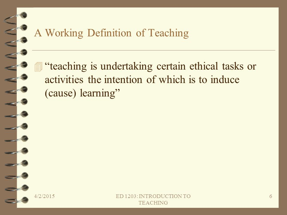 A Working Definition of Teaching
