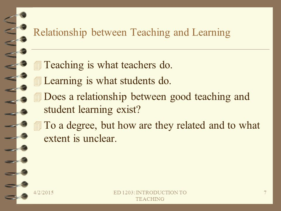 Relationship between Teaching and Learning