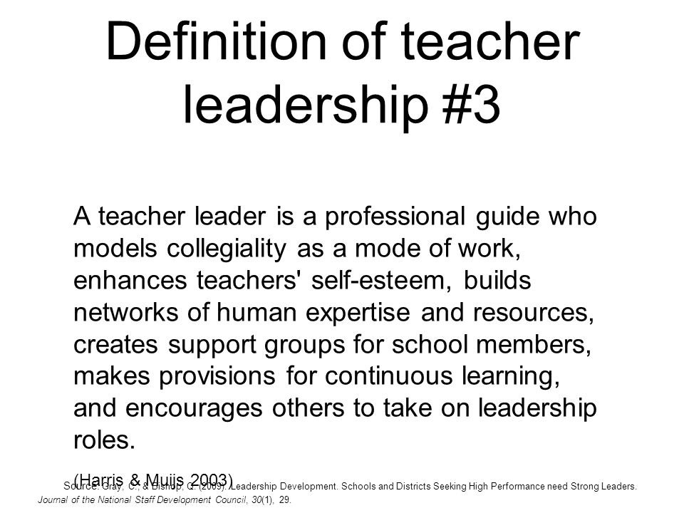 Definition of teacher leadership #3