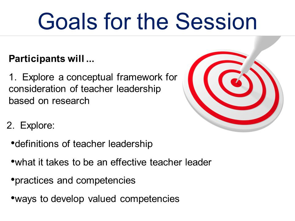 Goals for the Session Participants will ...