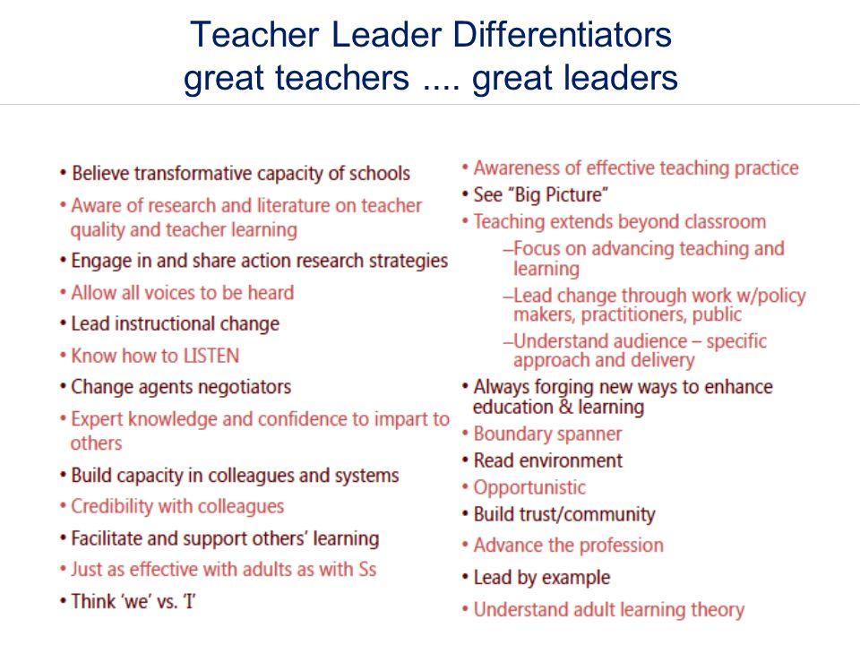 Teacher Leader Differentiators great teachers .... great leaders