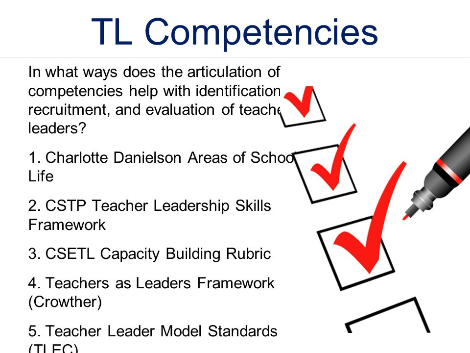 TL Competencies In what ways does the articulation of competencies help with identification, recruitment, and evaluation of teacher leaders