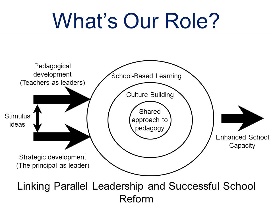 What's Our Role Pedagogical development. (Teachers as leaders) School-Based Learning. Culture Building.