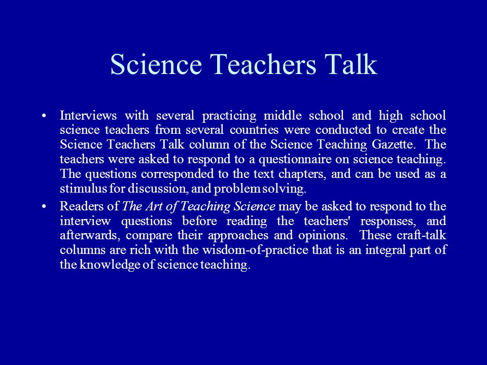 Science Teachers Talk