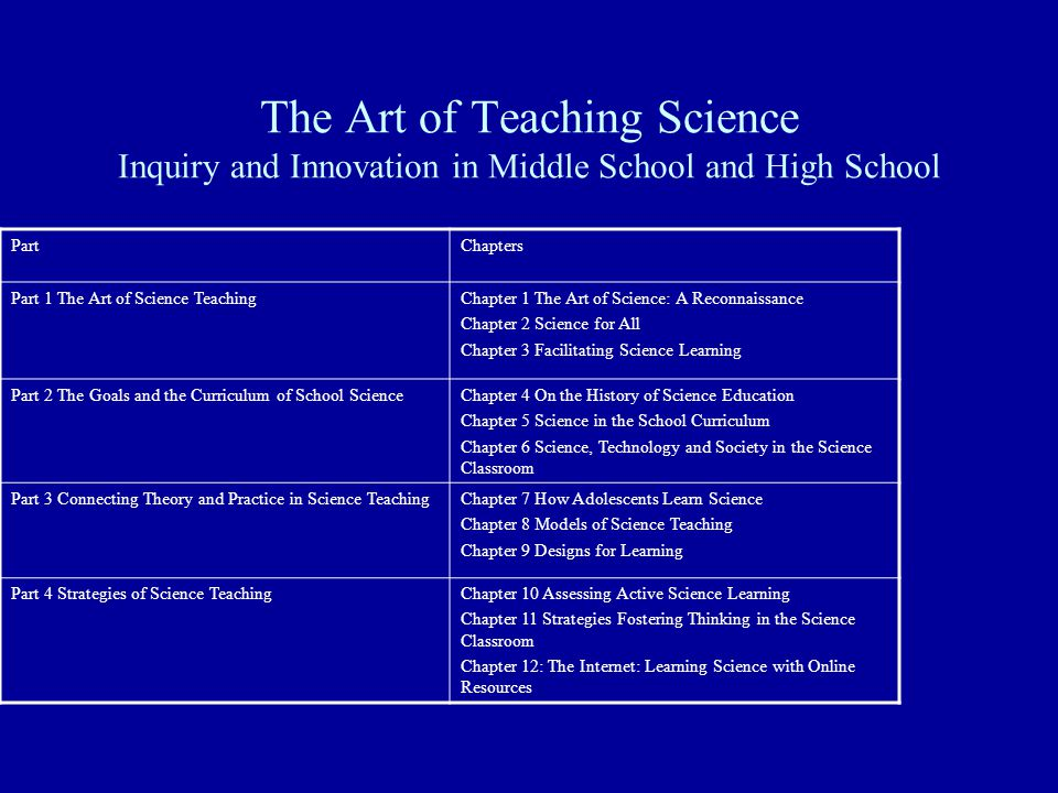 The Art of Teaching Science Inquiry and Innovation in Middle School and High School