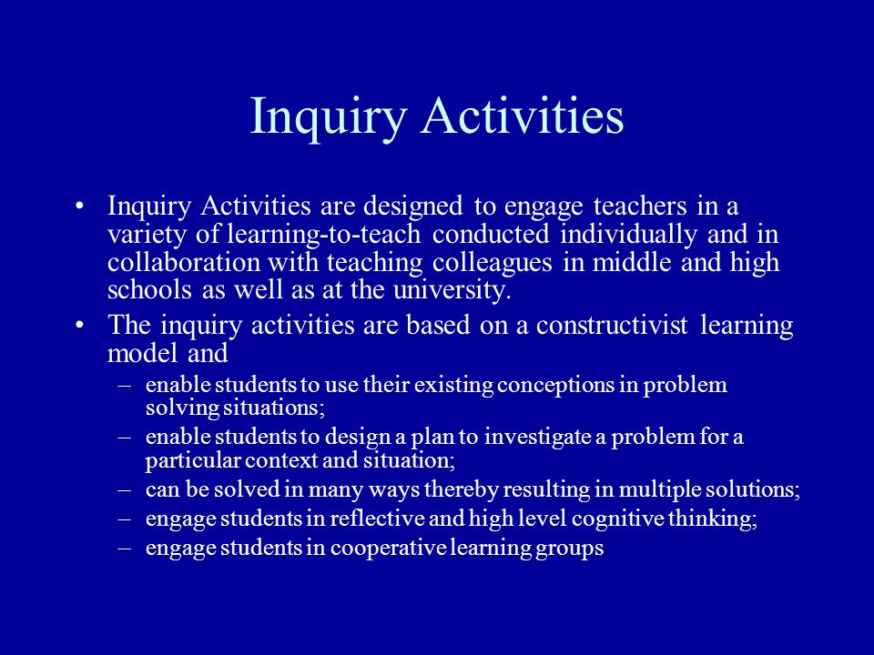 Inquiry Activities
