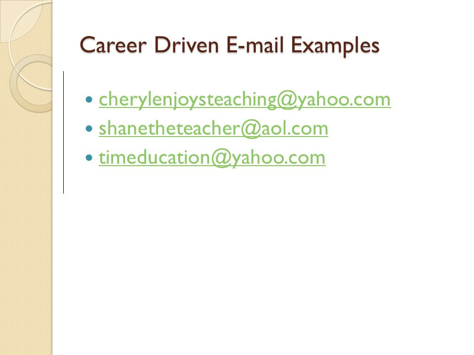 Career Driven E-mail Examples