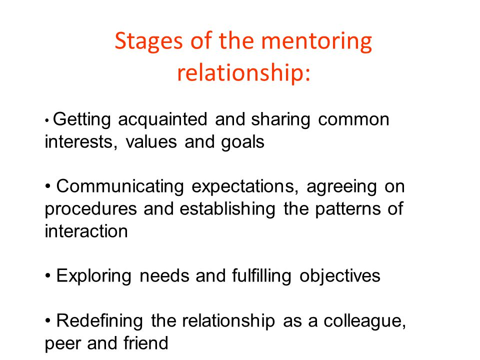 Stages of the mentoring relationship: