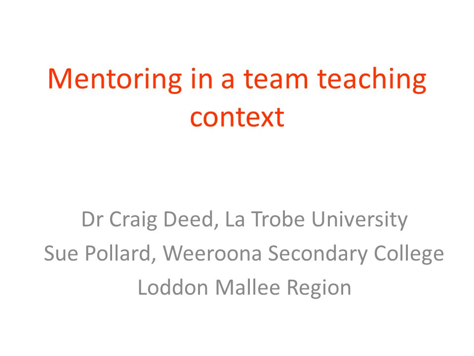 Mentoring in a team teaching context