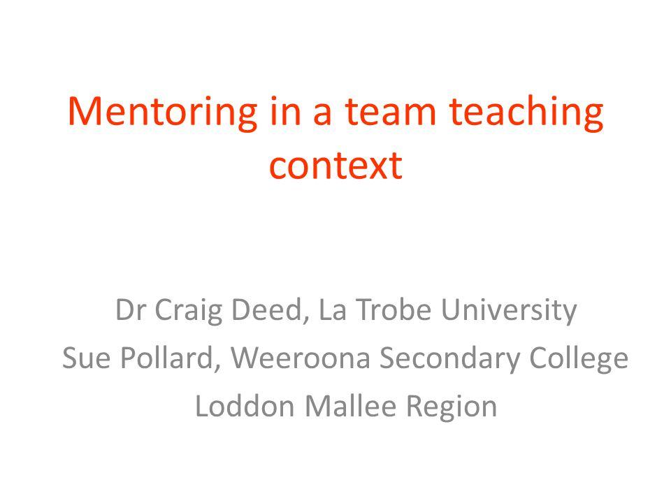 Mentoring in a team teaching context