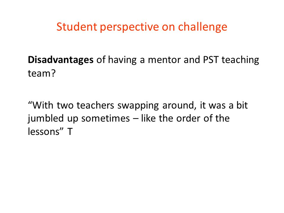 Student perspective on challenge