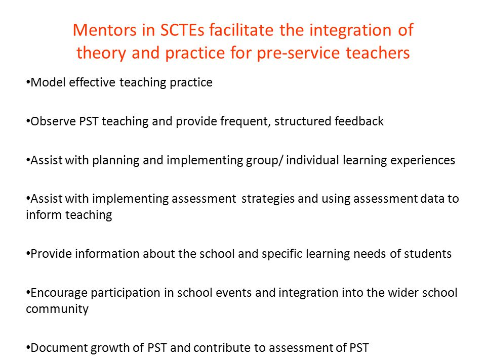 Mentors in SCTEs facilitate the integration of theory and practice for pre-service teachers