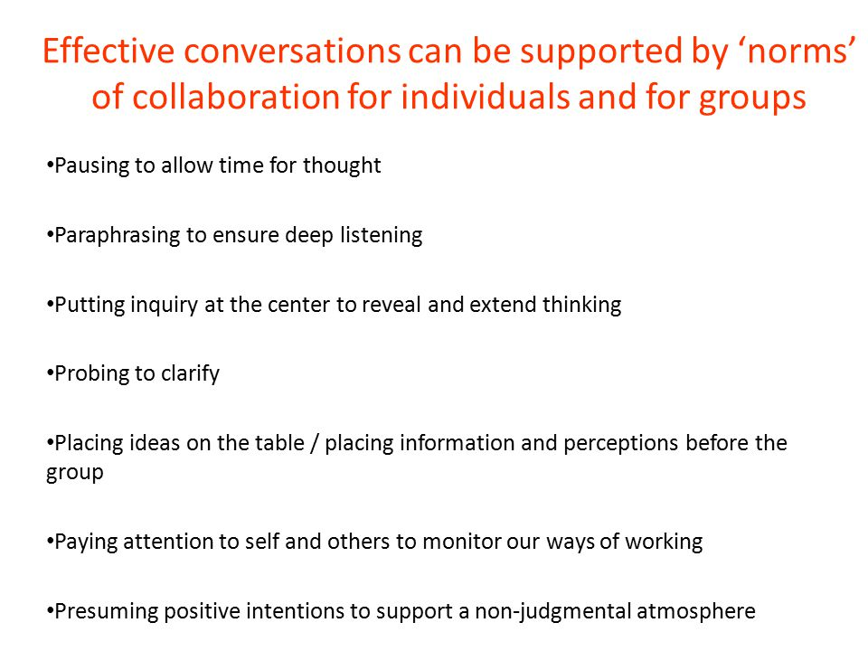 Effective conversations can be supported by 'norms' of collaboration for individuals and for groups