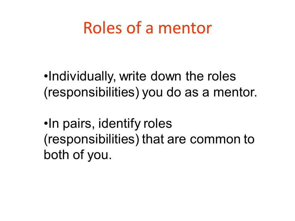 Roles of a mentor Individually, write down the roles (responsibilities) you do as a mentor.