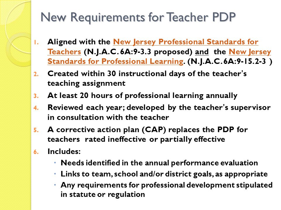 New Requirements for Teacher PDP