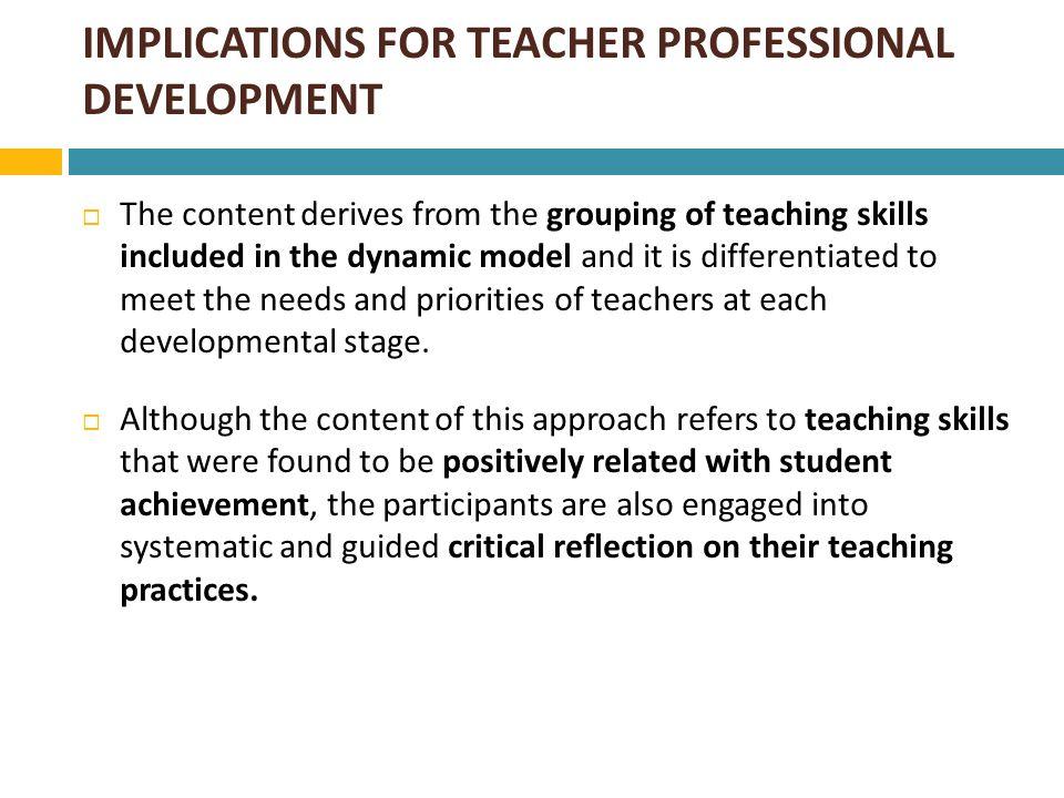 IMPLICATIONS FOR TEACHER PROFESSIONAL DEVELOPMENT