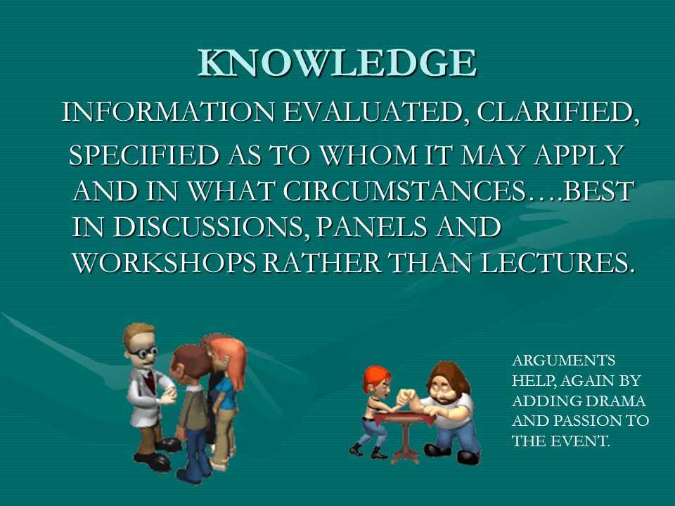 KNOWLEDGE INFORMATION EVALUATED, CLARIFIED,