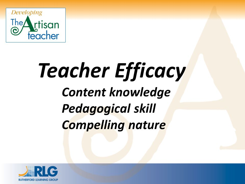 Teacher Efficacy Content knowledge Pedagogical skill Compelling nature