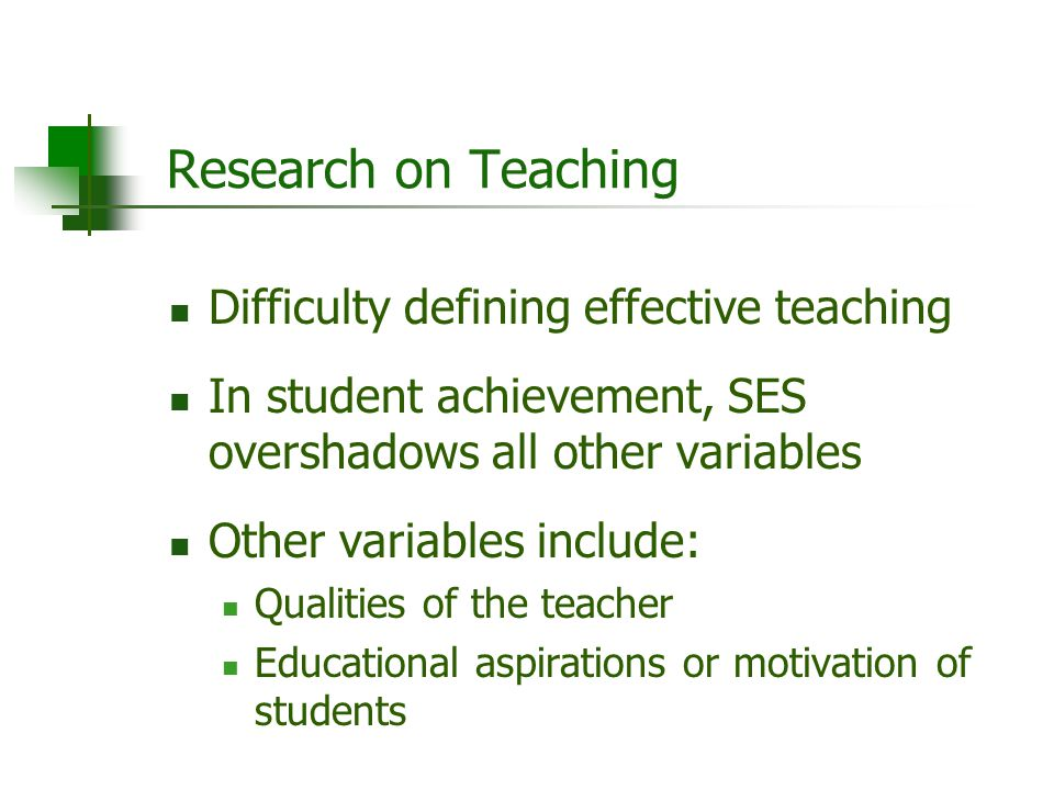 Research on Teaching Difficulty defining effective teaching