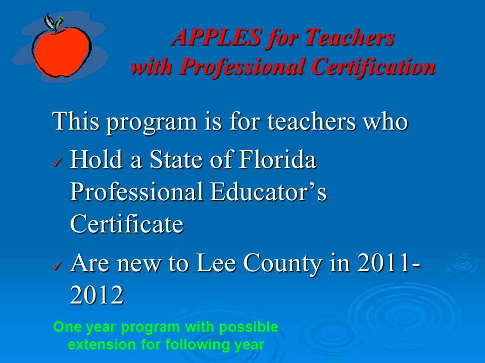 APPLES for Teachers with Professional Certification
